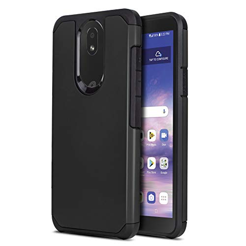 CasemartUSA Phone Case for [LG Journey LTE (L322DL)], [DuoTEK Series][Black] Shockproof Defender Impact Resistant Cover for LG Journey LTE (Tracfone, Simple Mobile, Straight Talk, Total Wireless)