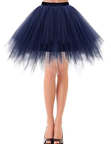 Bbonlinedress Damen Tüllrock 50er Rockabilly Petticoat Tutu Unterrock Kurz Ballett Tanzkleid Ballkleid Ballet Abendkleid Gelegenheit Zubehör Navy XL