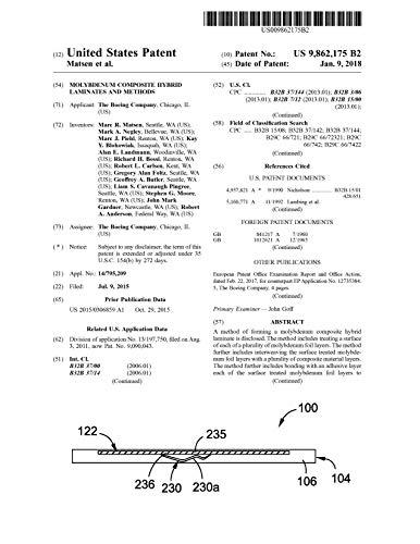 Molybdenum composite hybrid laminates and methods: United States Patent 9862175 (English Edition)