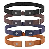 4 Pieces No Buckle Stretch Women Belt for Jeans Pants, WHIPPY Buckle Free Comfortable Invisible Elastic Belts (Black Khaki Blue Brown, Fit Pants Size 22-36 Inches)