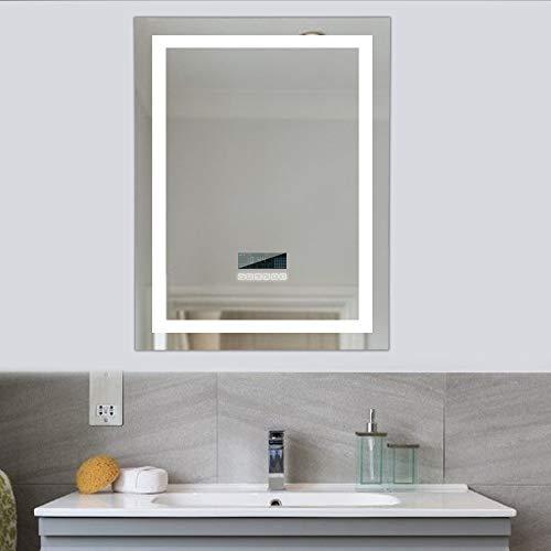 WeFun 600x800mm Badspiegel mit Beleuchtung,Badezimmerspiegel mit Beleuchtung, mit Zwei Bluetooth Lautsprecher, Beleuchtete Touch Control Dimmbar