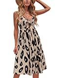 VOTEPRETTY Womens Summer Floral Sundress V Neck Tie Front Spaghetti Strap Dresses with Pockets (Leopard,M