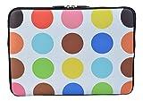 MySleeveDesign Laptoptasche Notebooktasche Sleeve für 10,2 Zoll / 11,6-12,1 Zoll / 13,3 Zoll / 14 Zoll / 15,6 Zoll / 17,3 Zoll - Neopren Schutzhülle mit VERSCH. Designs - Colored Points [11-12]