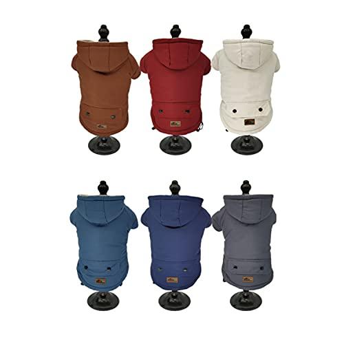 BRAVO. Abrigo para Perro Impermeable con Capucha Resistente al Agua y al Viento con Forro Interior de algodón Suave y cálido para Perros Grandes. (Talla S,M,L,XL). (Large, Azul Oscuro)