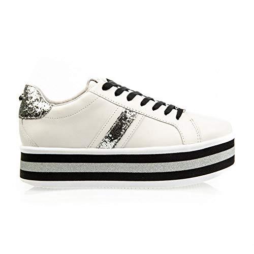 Apepazza - sneaker bianca con fondo multirighe apepazza - 40