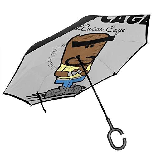 Mr Cage Von Lucas Cage Hero Für Miete Double Layer Inverted Umbrella Für Auto Reverse Folding Upside Down C-förmige Hände Leicht Winddicht