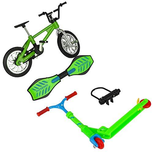 Isincer Mini Finger Spielzeug Set für Kinder, Profi Finger Fahrrad Scooter Skateboards,Mini Scooter Zweirad Roller Kinder Lernspielzeug Fingerscooter Fahrrad (4 Stück / Set)