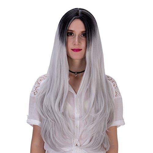 Long pour femme droite Gradual Couleur Halloween Cosplay Perruque 74,9 cm avec capuchon