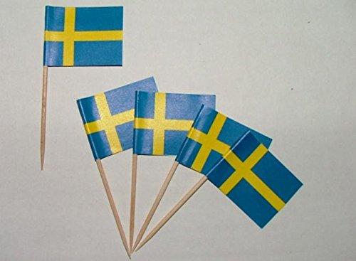 U24 Flaggen Zahnstocher Schweden Flagge Fahne Minipicker