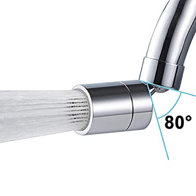 Kitchen Faucet Aerator, 2 Modes Adjustable 360-Degree Swivel Water Saving Faucet Sprayer Head Big AngleSink Aerator Polished Chrome, Water Saving 1.8 GPM-15/16 Inch - 27UNS Male Thread - Chrome