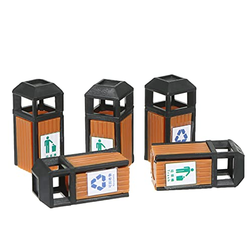 skrskr Latas de Basura en Miniatura, latas de Basura pintadas, Modelo de latas de camión de Basura, Mesa de Arena, casa de Hadas, decoración de Paisaje de Calle