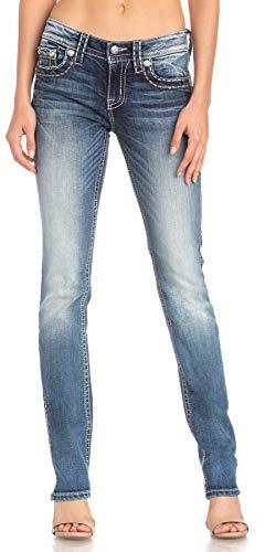 Miss Me - - Damen Mid-Rise M5014T318 Straight Jeans, 26, Denim