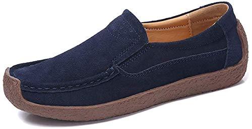 AARDIMI Mokassins Damen Bootsschuhe Loafers Halbschuhe Casual Fahren Schuhe Wildleder Slip on Slipper Erbsenschuhe (38 EU, Blau)