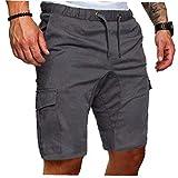 Berrywho Hombres del Verano de Carga Pantalones Cortos de algodón Bermudas Shorts Casual Estilo Militar Simples Pantalones de Trabajo de Encaje de Bolsillo Corto