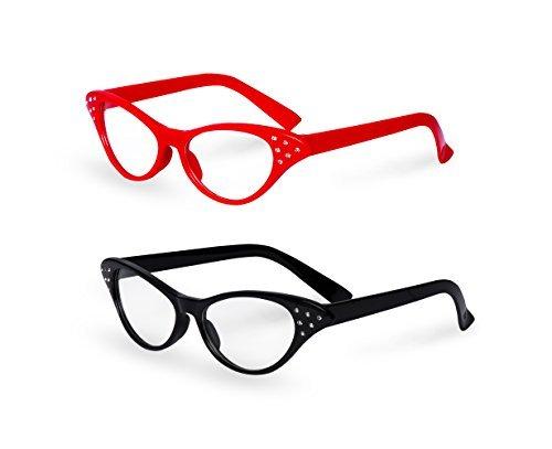 Red/Black Cat Eye Retro Costume Dress Up Hip Hop Rhinestone Glasses (2 Pack)