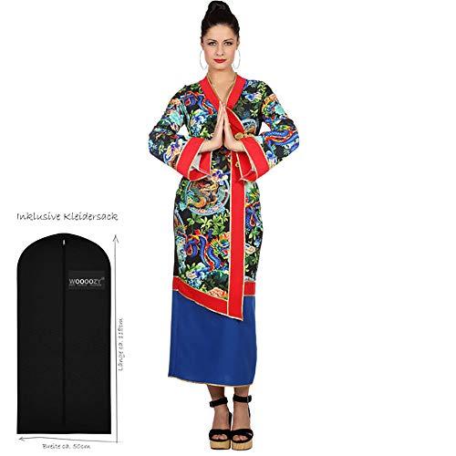 WOOOOZY Damen-Kostüm Asia-Kleid mit Drachen, Gr. 40 - inklusive praktischem Kleidersack