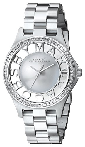 Marc by Marc Jacobs Women's MBM3337 Skeleton Crystal-Accented Stainless Steel Watch with Link Bracelet