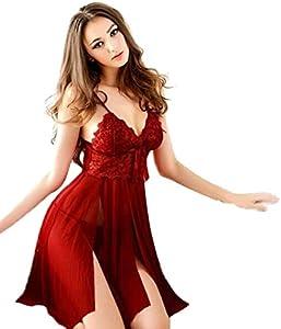 Sonnena lenceria Ropa Interior Mujer, Sexy Mujer Ropa Interior Pijamas Push-up Padded Bra Vestido de Encaje G-String Ropa de Dormir (Freesize, Rojo)