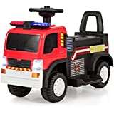 Costzon Kids Ride On Fire Truck, 6V Battery Powered Electric Vehicle w/ Siren Headlights, Horn, Music, Moving Forward/Backward, Fire Secure Ride on Toy for Toddler Boys & Girls (Red)
