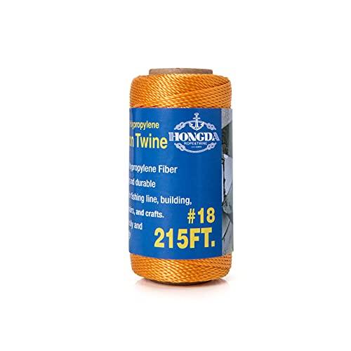 HONGDA Mason Line, 215 Feet #18 Twisted Polypropylene Mason Line String Perfect for Indoor and Outdoor Activities, Including Fishing, Boating, Masonry, Crafting, Gardening, Orange
