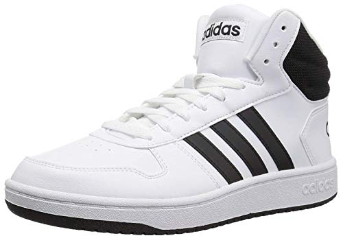 adidas Men's Hoops 2.0 Mid Basketball Shoe, white/black/black, 10.5 M US