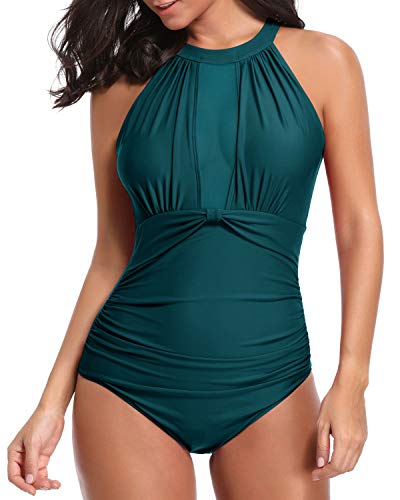 Tempt Me Women One Piece Swimsuit V Neck Mesh Ruched Swimwear Bathing Suit Malachite Green M