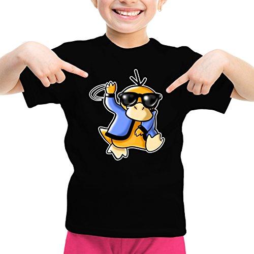 Okiwoki T-Shirt Enfant Fille Noir Pokémon parodique Psykokwak réalisant Le Gangnam Style : Gangduck Style by Psyko : (Parodie Pokémon)
