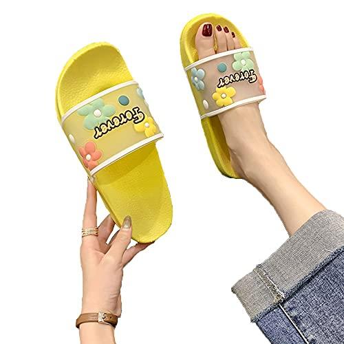 ZHIZI Flip Flops Damen Dusche Hausschuhe, transparentes PVC-Badezimmer Sandalen, Sommerbriefe, Blumen, Strand Schnell trocknende Schuhe (Color : Yellow, Size : US6/EU37/UK4)