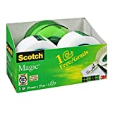 Scotch AAMT-3 - Cinta adhesiva con 1 dispensador (3 unidades), transparente