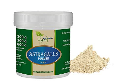 VITAIDEAL VEGAN® Astragalus - Wurzel Pulver (Tragantwurzel Astragal Huang Qi) 50g. inklusive Messlöffel, rein natürliches Pulver ohne Zusatzstoffe.