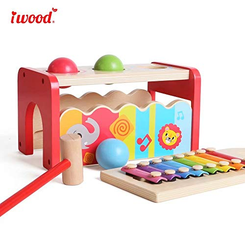iwood Hammering&Pounding Wooden Toy with Slide Out Xylophone Muscial Set for Toddlers Child Gift
