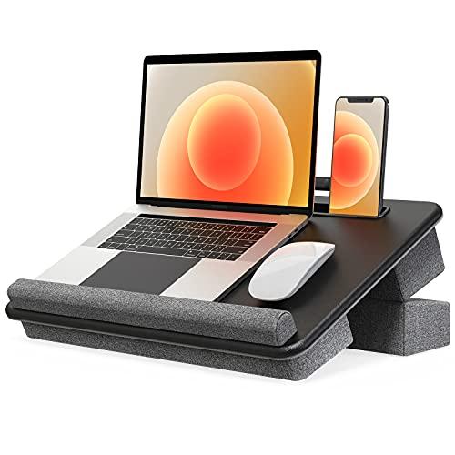 Klearlook Soporte para Computadora Portátil con Cojín Ajustable con 2 Ángulos,Escritorio para Laptop con Reposamuñecas,Ranura y Bolsillo de Almacenamiento Notebook Bandeja en Cama y Sofá-Grande