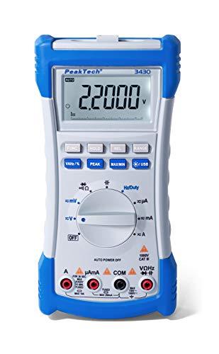 PeakTech 3430 - Multimetro Digitale, 10A AC DC, Display LCD, 20.000 Conteggi, TRMS, Interfaccia USB 2.0, Data Hold e MAX MIN, Rilevazione Picchi, Frequenzimetro - CAT III 1000 V CAT IV 600 V