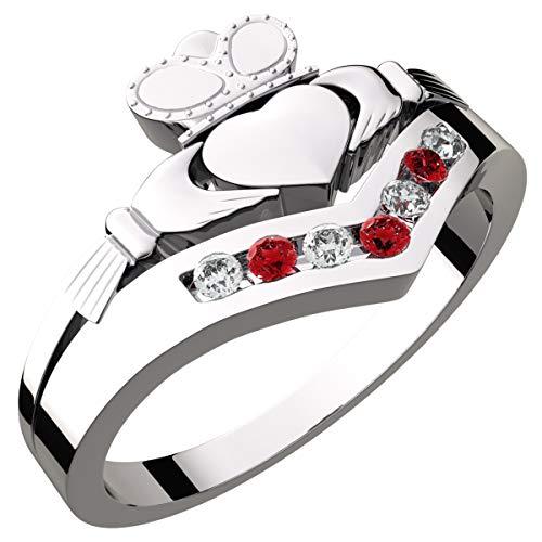 GWG Jewellery Anillos Mujer Regalo Anillo de Claddagh Plata de Ley Dos Manos Que Rodean Corazón con Corona e Incrustado con Circonitas de Color Rubí Rojo - 9 para Mujeres