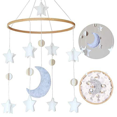Cosy-TT - Campana de cama, juego de viento para bebé, niño y niña, móvil para cuna, móvil para cuna, pesebre para niños y niñas (estrellas y luna)