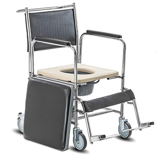 KosmoCare Propellor - Stainless steel Shower cum Commode Premium Imported Wheelchair