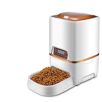 Sailnovo Distributeur Automatique de Nourriture Distributeur Programmable de Croquettes Gamelle Enregistrement Vocal 4 Repas Pour Chats et Chiens (distributeur 6L, Blanc)