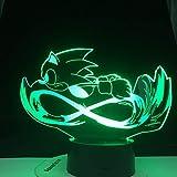 hqhqhq Running Sonic 3D Lámpara de Mesa táctil de Dibujos Animados 16...