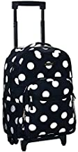 Rockland Double Handle Rolling Backpack, Black Dot, 17-Inch