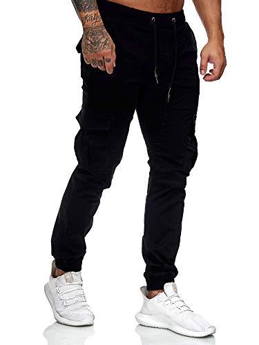 OneRedox Herren Chino Pants Jeans Joggchino Hose Jeanshose Skinny Fit Modell 1033 Schwarz 32
