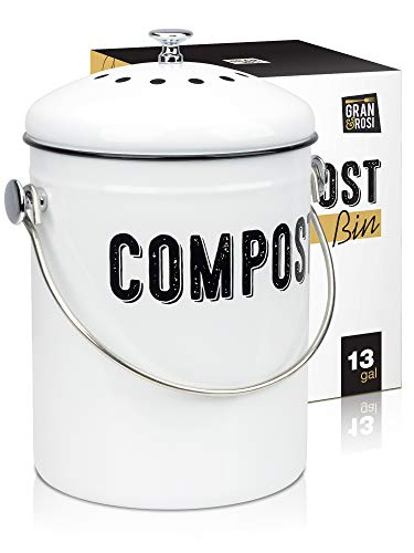 Granrosi Stylish Farmhouse Kitchen Compost Bin - 100% Rust Proof w/Non Smell Filters - Easy Clean 1.3 Gallon Container Looks Fabulous on Your Kitchen Countertop