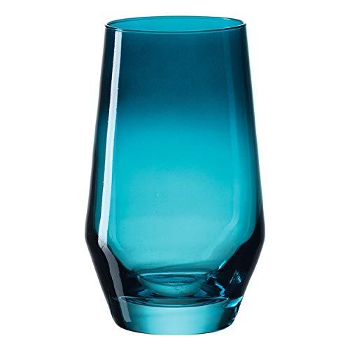 Leonardo Trinkglas PUCCINI, Glas, Trinkgefäß, Wasserglas, Kristallglas, Türkis, 300 ml, 028730-1 Stück