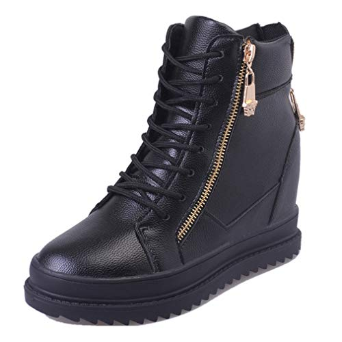CYBLING Women's Lace Up Wedge Sneakers Side Zipper Ankle Booties Platform High Top Sports Shoes Black