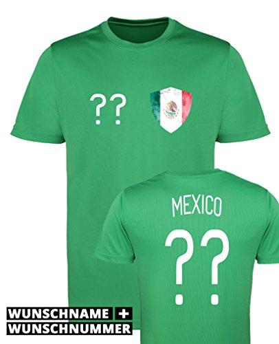 Comedy Shirts - Mexico Trikot - Wappen: Klein - Wunsch - Damen Trikot - Grün/Weiss Gr. M