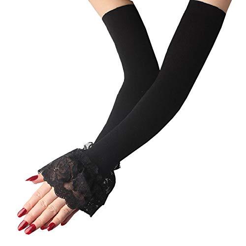 Overvloedi KühlenArm Ärmel mit 1 Paar elastische Ärmel Lange Fingerlose Spitze EIS Seide Spitze Arm Handschuhe bedeckt Sommer Sonnencreme Spitze Damen Handschuhe Negro