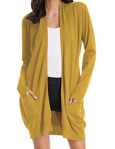 Womens Soft Open Front Sweater Cardigan Long Sleeve with Pockets Mustard L