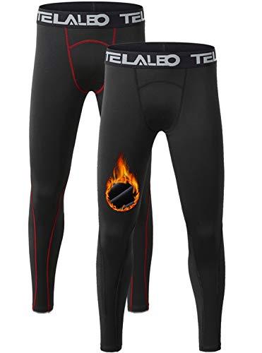 Teeleo Jungen Kompressions-Leggings, Thermo-Fleece-Unterwäsche, Leggings, Cold Gear Pants (kein Feuerball am Bein) - - Klein