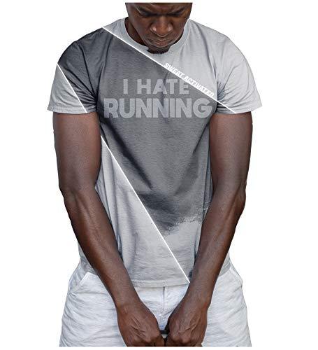 Camisas activadas por el sudor con mensajes motivacionales para entrenar, con frase «I hate running», para hombres - gris - Large