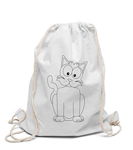 Turnbeutel Katze zum selbst gestalten Kinderrucksack zum bemalen und ausmalen für Kindergarten Hort Jungen und Mädchen