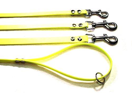 Angel for Pets MJH Beta Biothane - Guinzaglio giallo neon, 9 mm/1,20 m, con cinturino da polso e anello